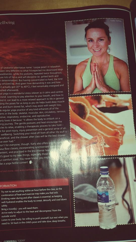 Great article in 'Cornwall Today' magazine about our hotyoga sessions
